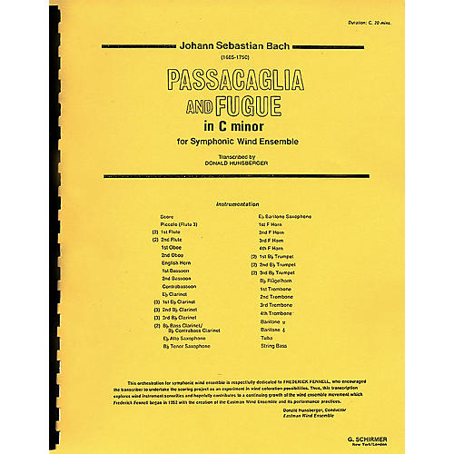 G. Schirmer Passacaglia and Fugue in C Minor (Score and Parts) Concert Band Level 4-5 by Johann Sebastian Bach-thumbnail