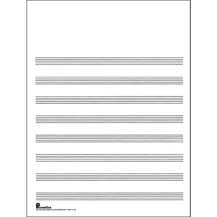 Music SalesPassantino Manuscript #28 8/10 Stave (Lead Sheet), 9X12