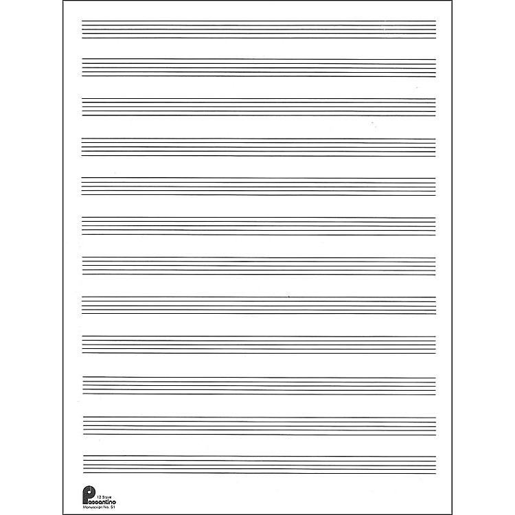 Music SalesPassantino Manuscript Paper Old #51, 12 Stave, 80 Pages, 9X12