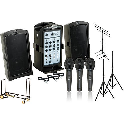 Fender Passport 150 Pro 3 Mic PA Package with Rock N Roller Cart-thumbnail