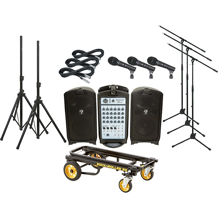 Fender Passport 300 PRO 3 Mic PA Package with Rock N Roller Cart