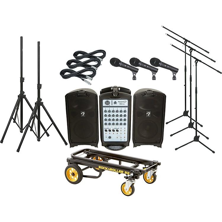 FenderPassport 300 PRO 3 Mic PA Package with Rock N Roller Cart