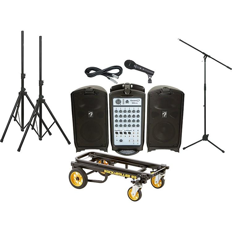 FenderPassport 300 Pro PA Package with Rock N Roller Cart