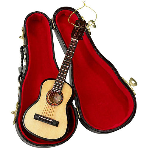 Kurt S. Adler Pearlized Guitar Ornament with Leather Case