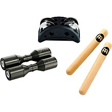 Meinl Percussion Pack w/ Compact Foot Jingle Tambourine, Classic Hardwood Claves and Artist Series Shaker