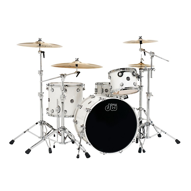 DW Performance Series 4-Piece Shell Pack Pearl White Ice Lacquer with Chrome Hardware