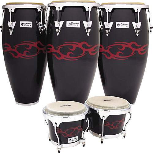 LP Performer Limited Edition 3-Piece Conga Set Black with Red Tattoo-thumbnail