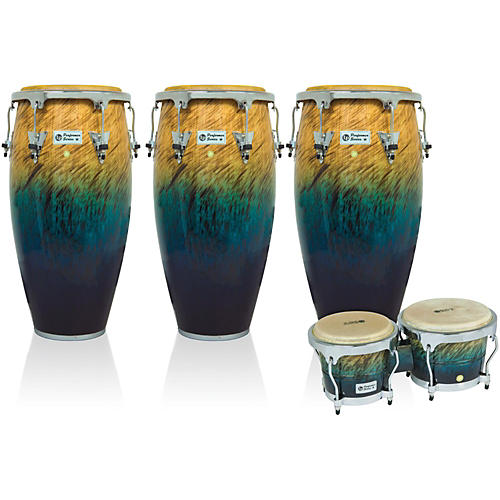 LP Performer Series 3-Piece Conga and Bongo Set with Chrome Hardware Blue Fade