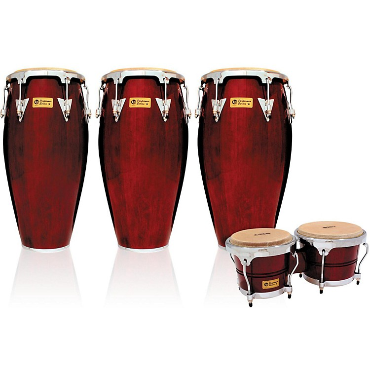 LPPerformer Series 3-Piece Conga and Bongo Set with Chrome HardwareDark Wood