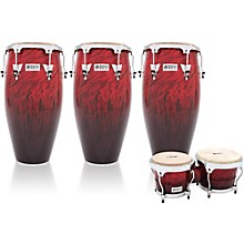 LP Performer Series 3-Piece Conga and Bongo Set with Chrome Hardware Red Fade