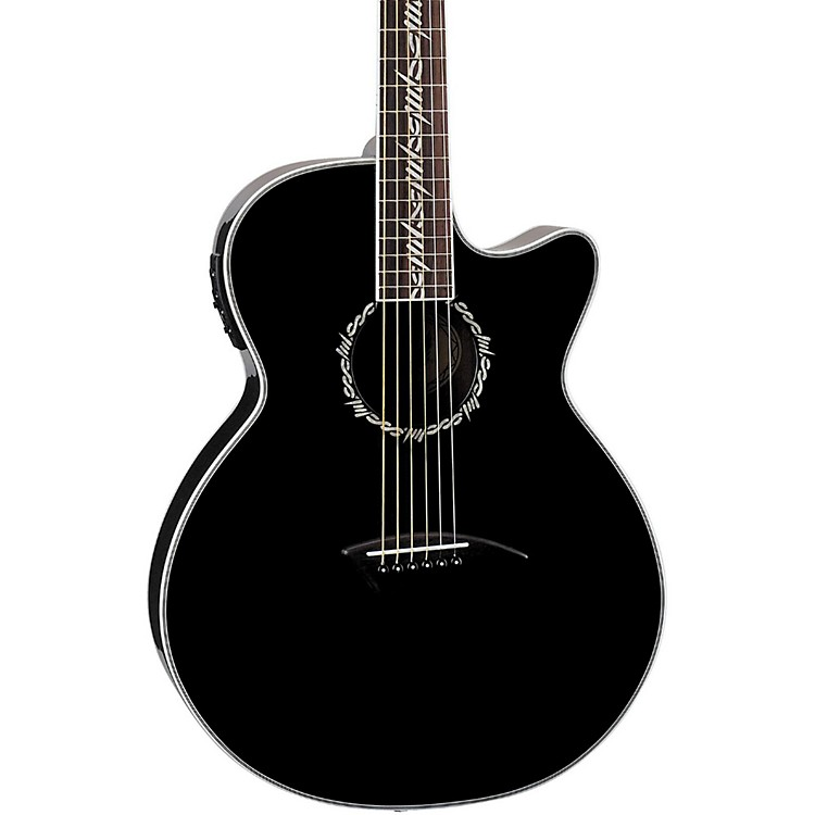 Dean Performer Tribal Cutaway Acoustic-Electric Guitar Classic Black