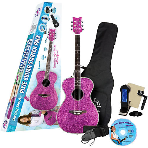Daisy Rock Pixie Acoustic-Electric Guitar Starter Pack (Pink Sparkle) Pink Sparkle