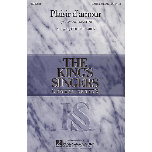 Hal Leonard Plaisir d'Amour SATB a cappella by The King's Singers arranged by Goff Richards