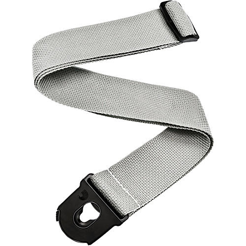 D'Addario Planet Waves Planet Lock Locking Nylon Guitar Strap Silver