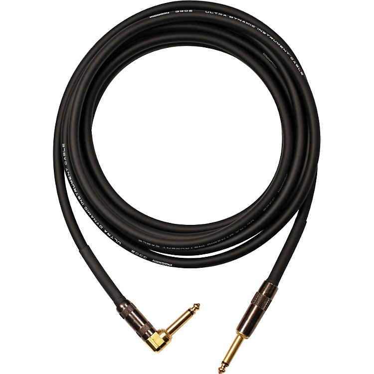 Mogami Platinum Instrument Cable with Right Angle to Straight End Connectors 40 Foot Right Angle to Straight
