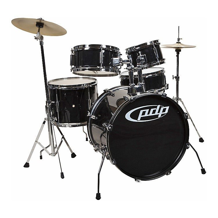 PDP Player 5-Piece Junior Drum Set with Cymbals and Throne Black