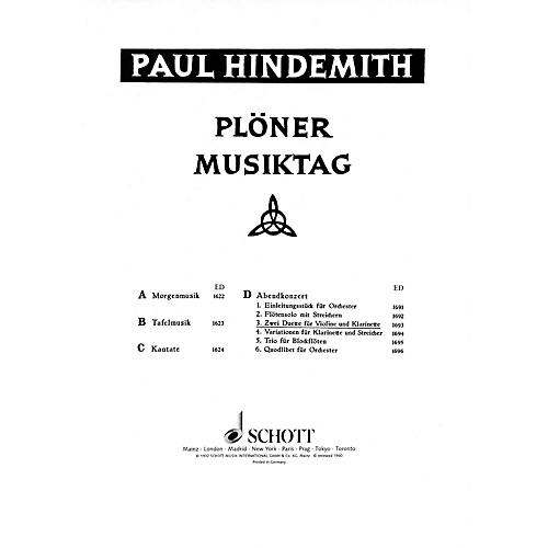 Schott Plöner Musiktag - The Evening Concert (Performance Score) Schott Series Composed by Paul Hindemith