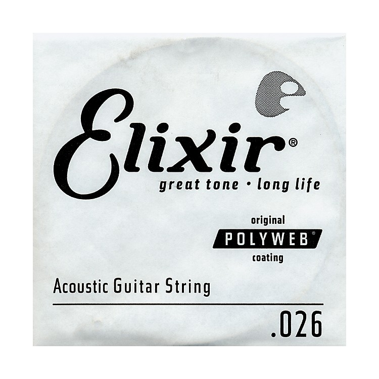 Elixir Polyweb .026 Acoustic Guitar String 4-Pack Singles
