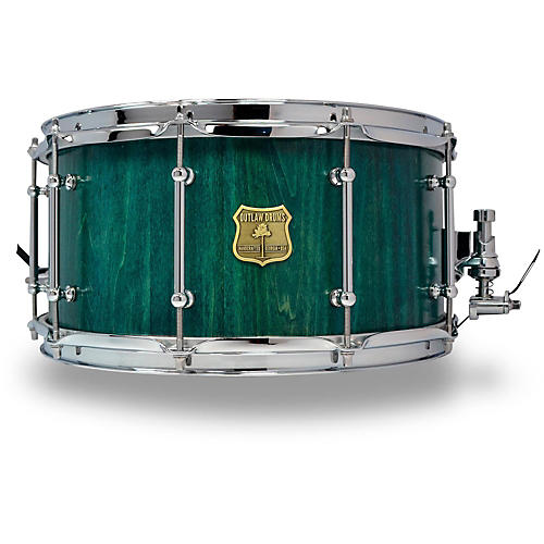 OUTLAW DRUMS Poplar Stave Snare Drum with Chrome Hardware 14 x 7 in. Emerald Cove