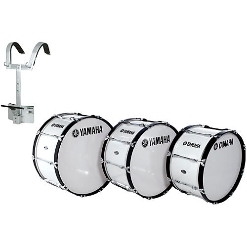 Yamaha Power-Lite Marching Bass Drum with Carrier White Wrap 26x14 Inch