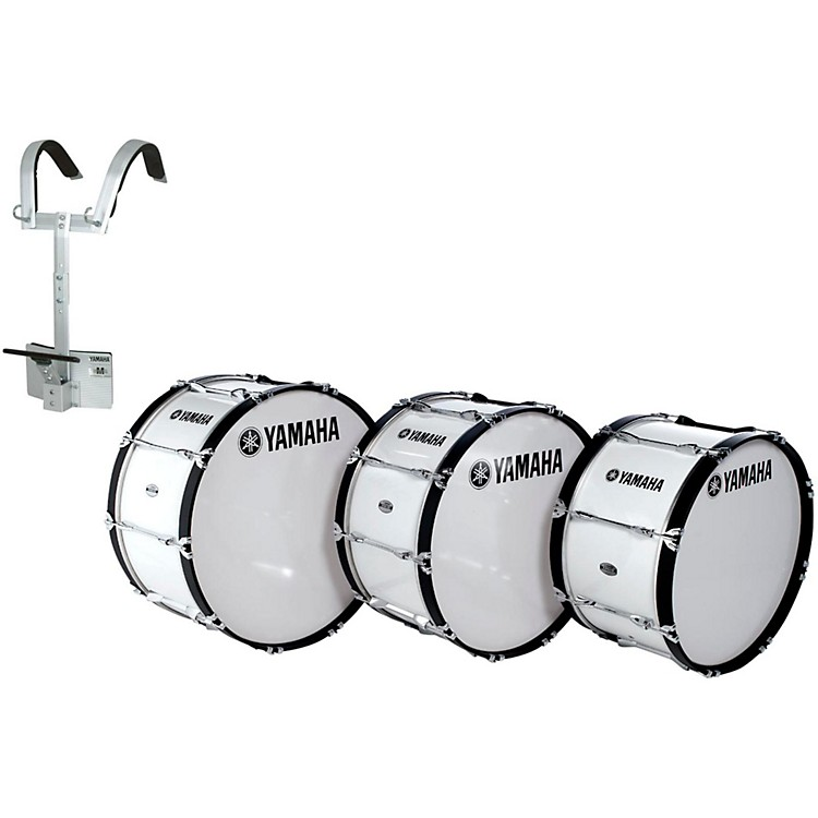 Yamaha Power-Lite Marching Bass Drum with Carrier White Wrap 28x14 Inch