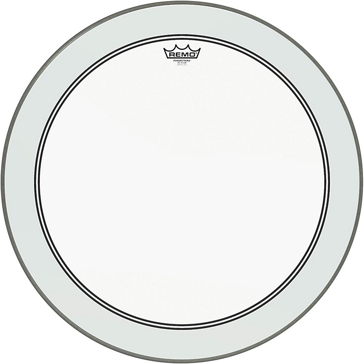 RemoPowerstroke 3 Clear Bass Drumhead with White Impact Patch24 Inches