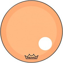 "Remo Powerstroke P3 Colortone Orange Resonant Bass Drum Head with 5"" Offset Hole"