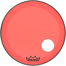 "Remo Powerstroke P3 Colortone Red Resonant Bass Drum Head with 5"" Offset Hole"
