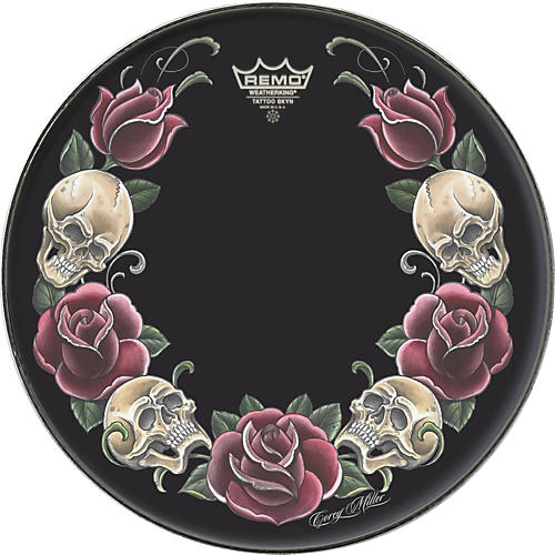 Remo Powerstroke Tattoo Skyn Bass Drumhead, Black 20 in. Rock & Roses Graphic