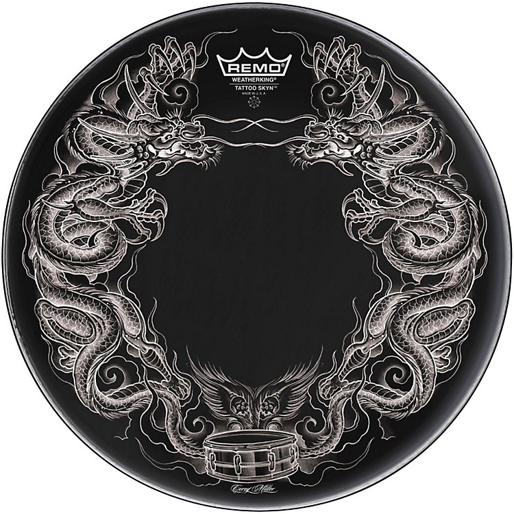 Remo Powerstroke Tattoo Skyn Bass Drumhead, Black 20 inch Dragon Skyn Graphic