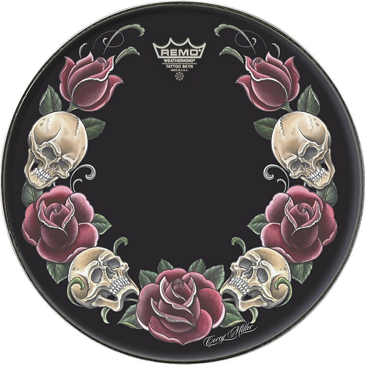 Remo Powerstroke Tattoo Skyn Bass Drumhead, Black 22 inch Rock & Roses Graphic