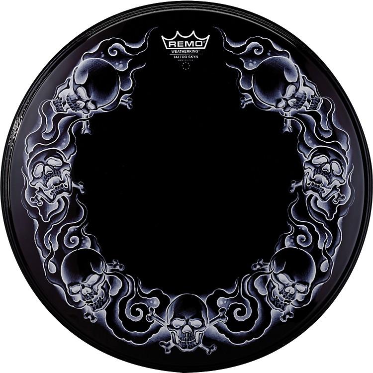 RemoPowerstroke Tattoo Skyn Bass Drumhead, Black22 InchSkulls