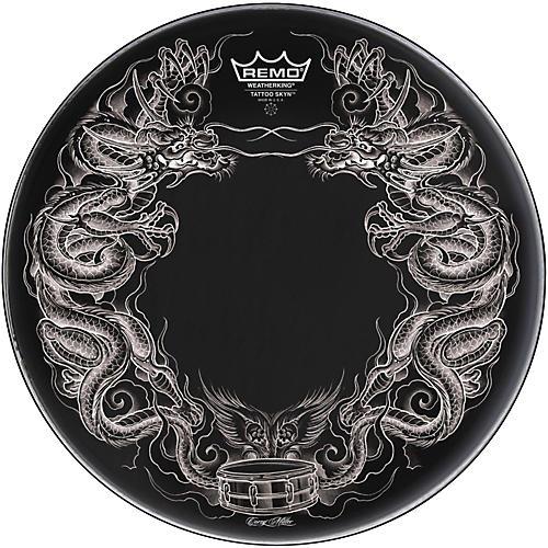 Remo Powerstroke Tattoo Skyn Bass Drumhead, Black-thumbnail