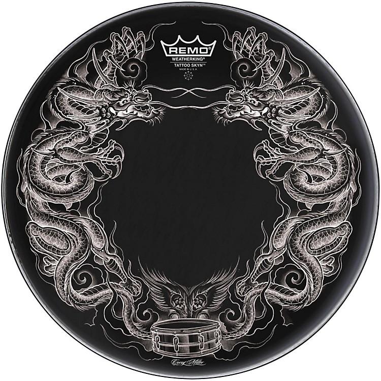 RemoPowerstroke Tattoo Skyn Bass Drumhead, Black22 inchDragon Skyn Graphic
