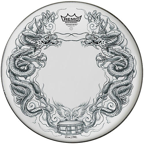 Remo Powerstroke Tattoo Skyn Bass Drumhead, White 22 in. Dragon Skyn Graphic