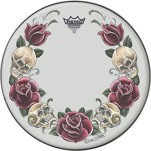 Remo Powerstroke Tattoo Skyn Bass Drumhead, White 22 in. Rock & Roses Graphic