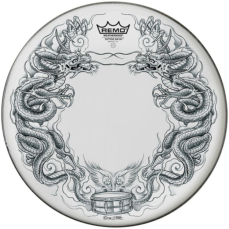 Remo Powerstroke Tattoo Skyn Bass Drumhead, White 22 inch Dragon Skyn Graphic