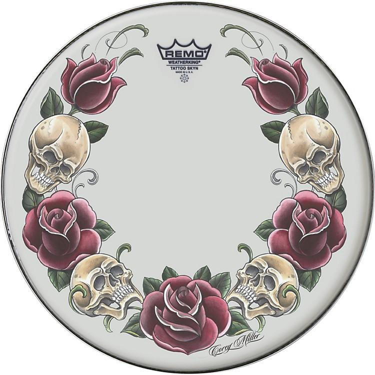 RemoPowerstroke Tattoo Skyn Bass Drumhead, White22 inchRock & Roses Graphic