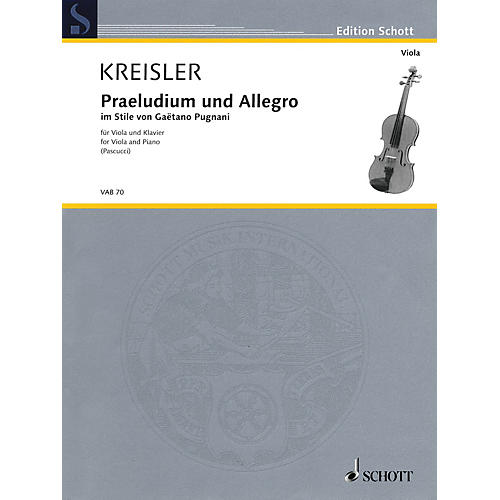 Schott Praeludium und Allegro (in the Style of Gaëtano Pugnani Viola and Piano) String Series Softcover-thumbnail