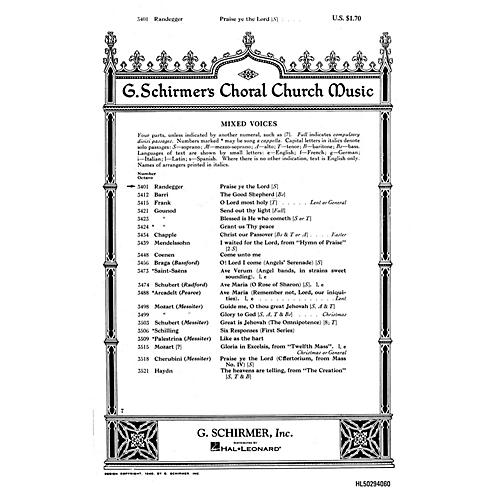 G. Schirmer Praise Ye the Lord (Psalm 150) (SATB with soprano solo) SATB composed by Alberto Randegger-thumbnail