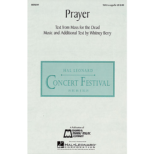 Hal Leonard Prayer SSAA A Cappella composed by Whitney Berry