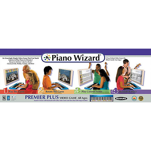 Piano Wizard Premiere Plus Piano Wizard Video Game with Suzuki 4 Octave USB Keyboard and USB Cable