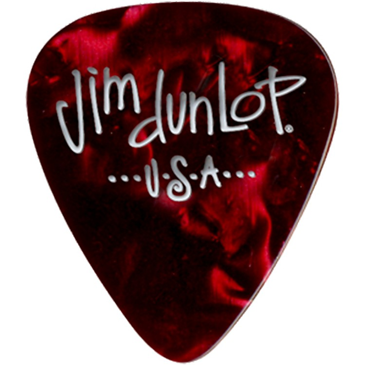 Dunlop Premium Celluloid Classic Guitar Picks 1 Dozen Red Pearloid Medium