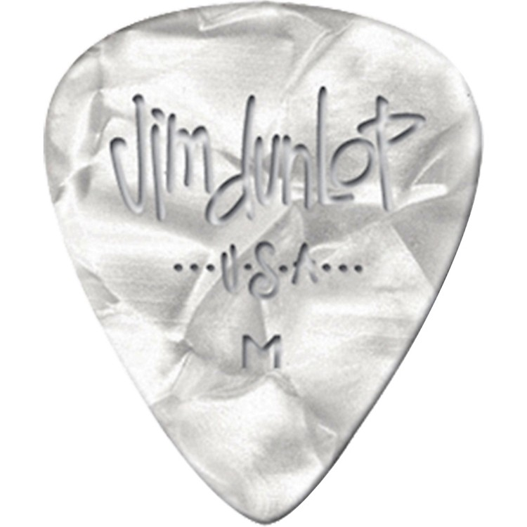 Dunlop Premium Celluloid Classic Guitar Picks 1 Dozen White Pearloid Heavy