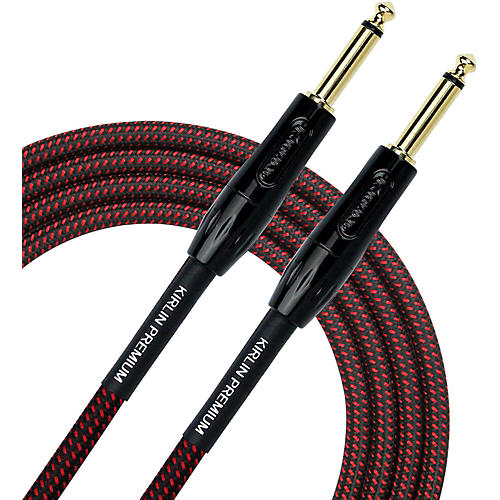 KIRLIN Premium Plus Instrument Cable with Black/Red Woven Jacket-thumbnail