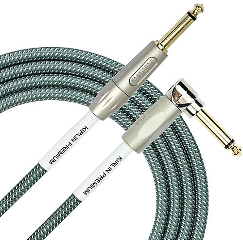KIRLIN Premium Plus Straight to Right Angle Instrument Cable, Olive Green Woven Jacket