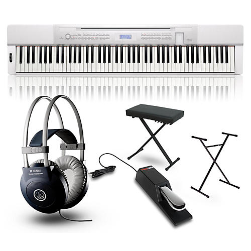 Casio Privia PX350 Digital Piano White with Stand, Sustain Pedal, Deluxe Keyboard Bench and Headphones-thumbnail