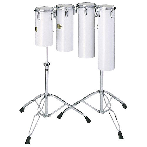 Pearl Quarter Tom Sets Concert Drums 6 x 12 and 6 x 15 with Stand In Arctic White