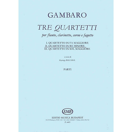 Editio Musica Budapest Quartet in D Minor for Flute, Clarinet, Horn, Bassoon EMB Series Composed by Giovanni Battista Gambaro