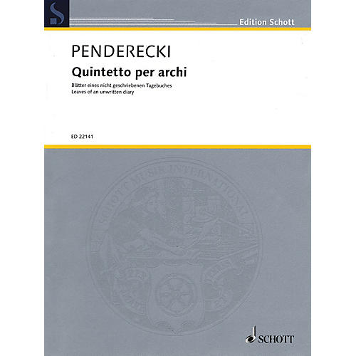 Schott Quintetto per archi String Ensemble Series Composed by Krzysztof Penderecki-thumbnail